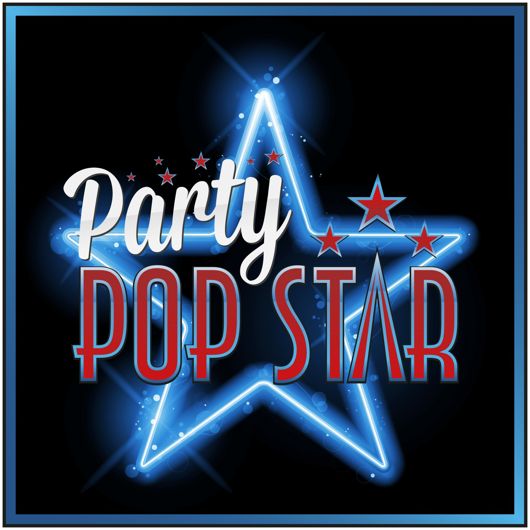 Party Pop Star Blue Neon Star